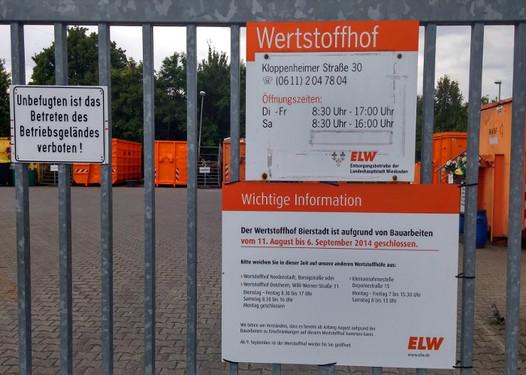 Wertstoffhof Wiesbaden Bierstadt öffnungszeiten
